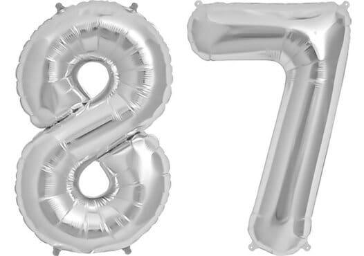 Luftballon Zahl 87 Zahlenballon silber (86 cm)