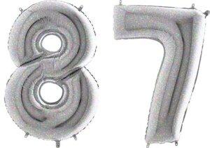 Luftballon Zahl 87 Zahlenballon silber-holographic (100 cm)