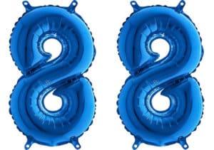 Luftballon Zahl 88 Zahlenballon blau (66 cm)