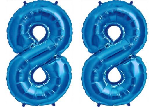 Luftballon Zahl 88 Zahlenballon blau (86 cm)