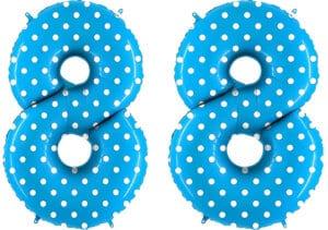 Luftballon Zahl 88 Zahlenballon blau mit weißen Punkten (100 cm)