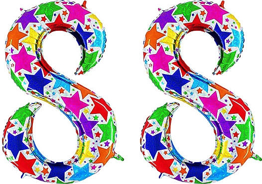 Luftballon Zahl 88 Zahlenballon silber mit bunten Sternen (100 cm)
