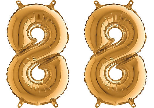 Luftballon Zahl 88 Zahlenballon gold (66 cm)
