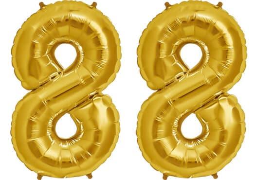 Luftballon Zahl 88 Zahlenballon gold (86 cm)