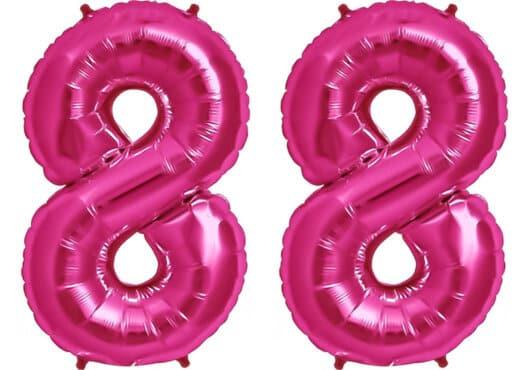 Luftballon Zahl 88 Zahlenballon pink (86 cm)