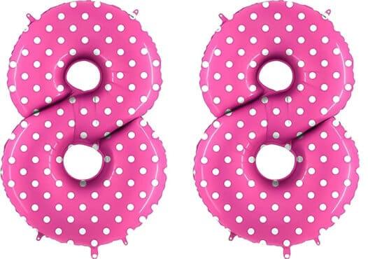 Luftballon Zahl 88 Zahlenballon pink mit weißen Punkten (100 cm)