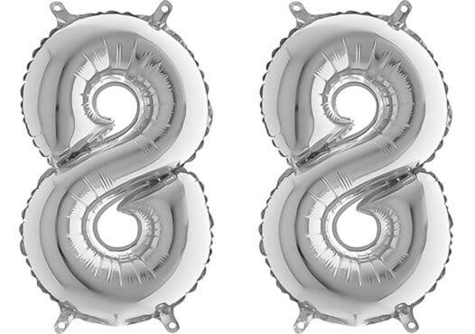 Luftballon Zahl 88 Zahlenballon silber (66 cm)