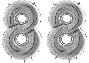 Luftballon Zahl 88 Zahlenballon silber-holographic (100 cm)