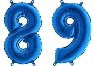Luftballon Zahl 89 Zahlenballon blau (66 cm)