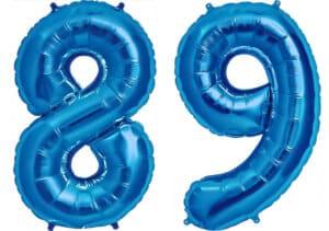 Luftballon Zahl 89 Zahlenballon blau (86 cm)