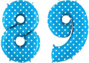Luftballon Zahl 89 Zahlenballon blau mit weißen Punkten (100 cm)