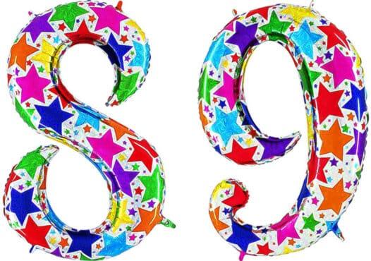 Luftballon Zahl 89 Zahlenballon silber mit bunten Sternen (100 cm)