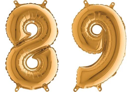Luftballon Zahl 89 Zahlenballon gold (66 cm)