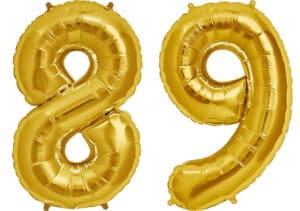 Luftballon Zahl 89 Zahlenballon gold (86 cm)