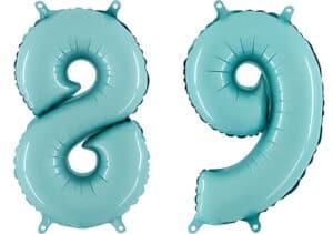 Luftballon Zahl 89 Zahlenballon pastell-blau (100 cm)