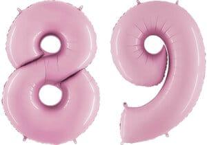 Luftballon Zahl 89 Zahlenballon pastell-pink (100 cm)