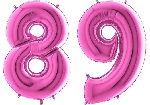 Luftballon Zahl 89 Zahlenballon pink (66 cm)