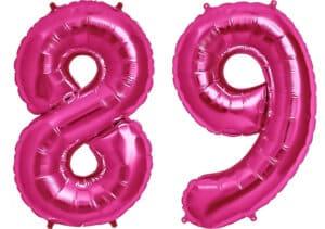 Luftballon Zahl 89 Zahlenballon pink (86 cm)