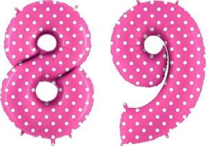 Luftballon Zahl 89 Zahlenballon pink mit weißen Punkten (100 cm)