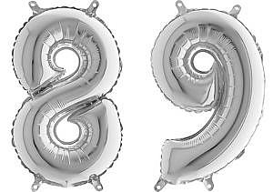 Luftballon Zahl 89 Zahlenballon silber (66 cm)