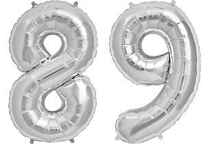 Luftballon Zahl 89 Zahlenballon silber (86 cm)