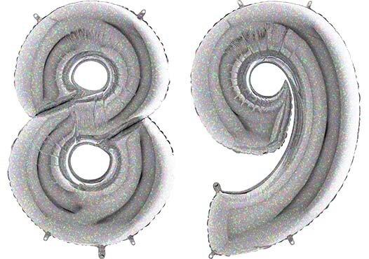 Luftballon Zahl 89 Zahlenballon silber-holographic (100 cm)