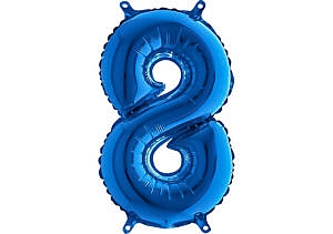 Luftballon Zahl 8 Zahlenballon blau (66 cm)