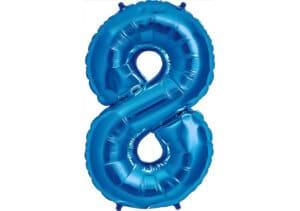 Luftballon Zahl 8 Zahlenballon blau (86 cm)