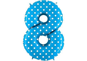 Luftballon Zahl 8 Zahlenballon blau mit weißen Punkten (100 cm)