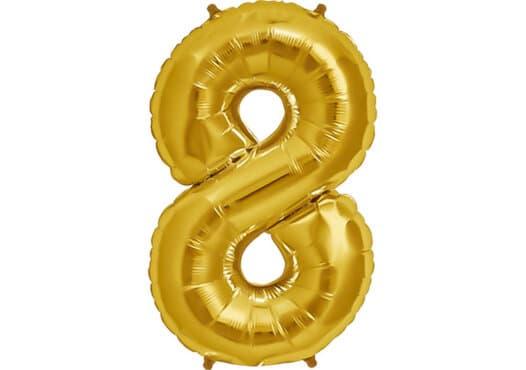 Luftballon Zahl 8 Zahlenballon gold (86 cm)
