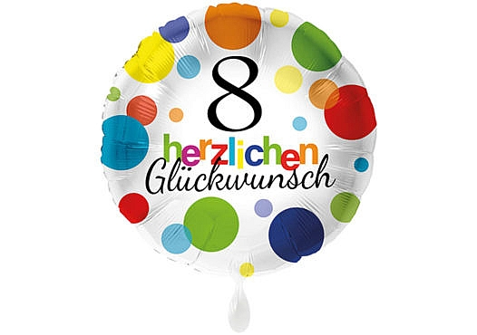 Runder Luftballon mit bunten Punkten Herzlichen Glückwunsch Zahl 8 weiß (38 cm)