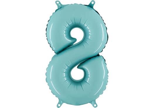 Luftballon Zahl 8 Zahlenballon pastell-blau (100 cm)