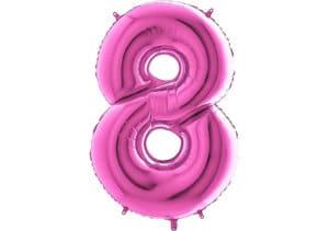 Luftballon Zahl 8 Zahlenballon pink (66 cm)