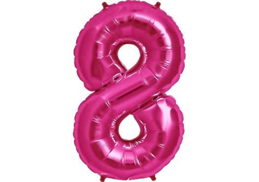 Luftballon Zahl 8 Zahlenballon pink (86 cm)
