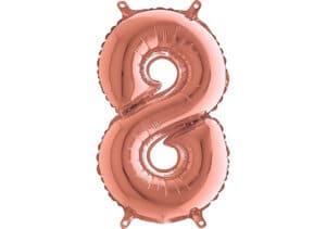 Luftballon Zahl 8 Zahlenballon rosegold (66 cm)