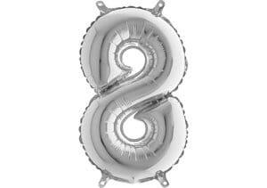 Luftballon Zahl 8 Zahlenballon silber (66 cm)