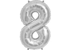 Luftballon Zahl 8 Zahlenballon silber (86 cm)