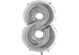 Luftballon Zahl 8 Zahlenballon silber-holographic (100 cm)