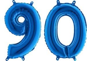 Luftballon Zahl 90 Zahlenballon blau (66 cm)