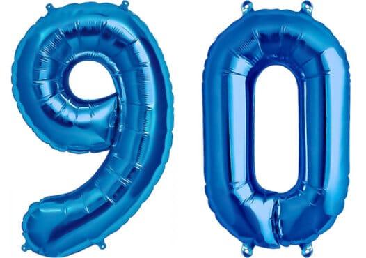 Luftballon Zahl 90 Zahlenballon blau (86 cm)
