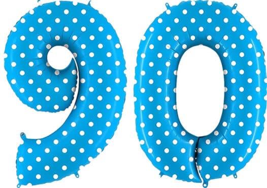 Luftballon Zahl 90 Zahlenballon blau mit weißen Punkten (100 cm)