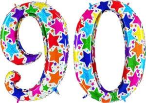 Luftballon Zahl 90 Zahlenballon silber mit bunten Sternen (100 cm)
