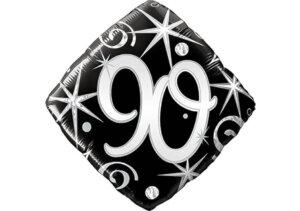 Eleganter Diamant-Luftballon mit Zahl 90 schwarz (38 cm)