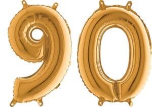 Luftballon Zahl 90 Zahlenballon gold (66 cm)