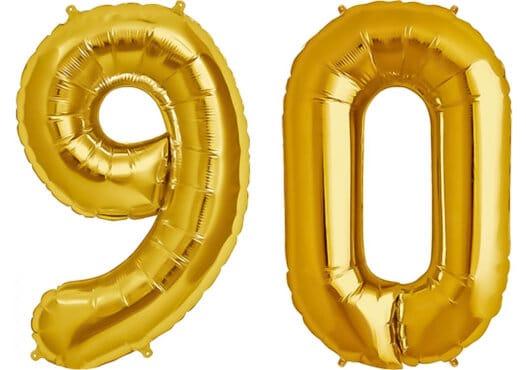 Luftballon Zahl 90 Zahlenballon gold (86 cm)