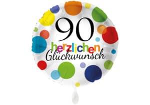 Runder Luftballon mit bunten Punkten Herzlichen Glückwunsch Zahl 90 weiß (38 cm)