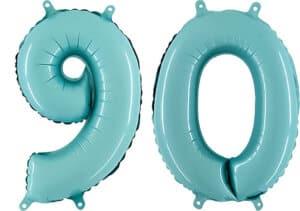 Luftballon Zahl 90 Zahlenballon pastell-blau (100 cm)