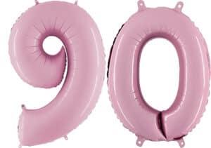 Luftballon Zahl 90 Zahlenballon pastell-pink (100 cm)