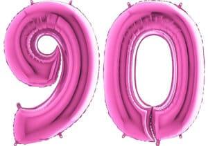 Luftballon Zahl 90 Zahlenballon pink (66 cm)