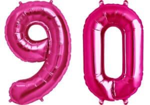 Luftballon Zahl 90 Zahlenballon pink (86 cm)